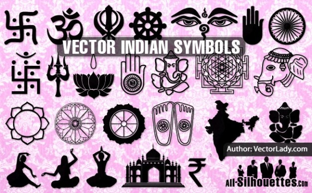 Vector Indian Symbols Silhouettes Vector Free Download