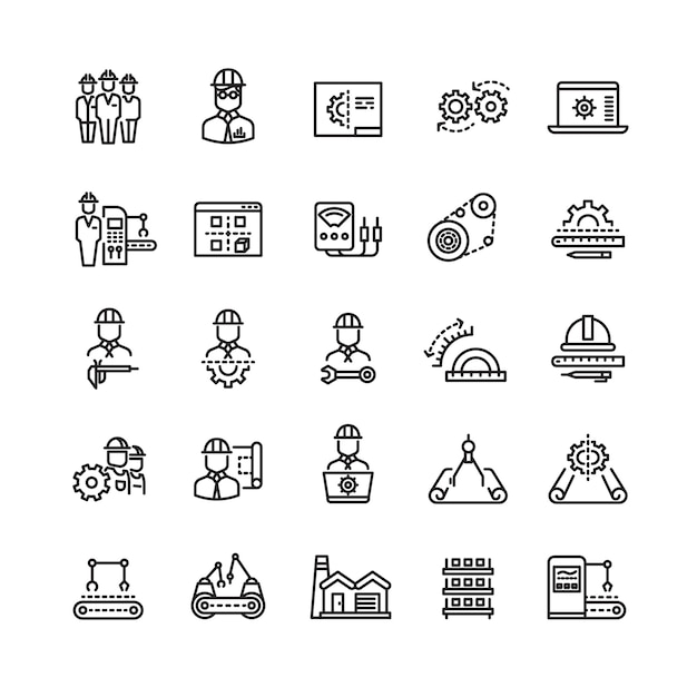 Vector industry engineering mechanical thin line icons Premium Vector