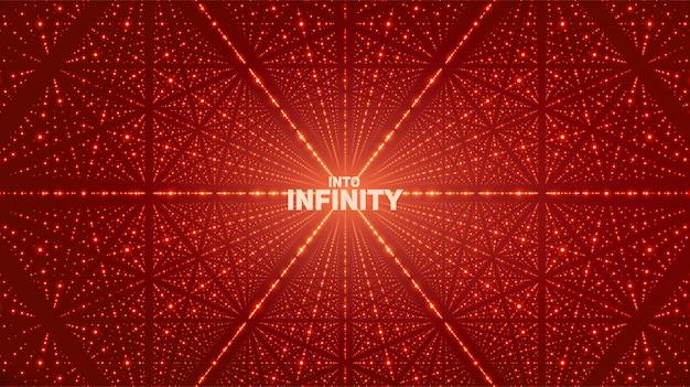 ベクトル無限空間の背景。深さ、遠近法の幻想を持つ輝く星。格子としてポイント配列を持つ幾何学的な背景。 無料ベクター