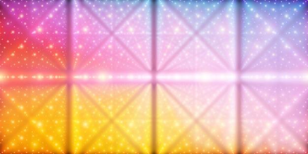 無限の空間のベクトルの背景。奥行きと遠近感の錯覚を伴う輝く星の行列。ポイント配列をラティスノードとして持つ幾何学的背景。抽象的な未来的なカラフルな宇宙の背景 無料ベクター