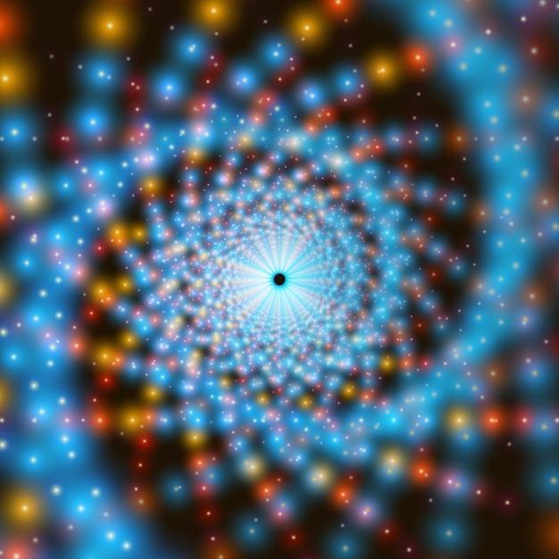 背景に輝くフレアのベクトル無限スワールトンネル。フラクタル効果。光る点がトンネルセクターを形成します。 無料ベクター