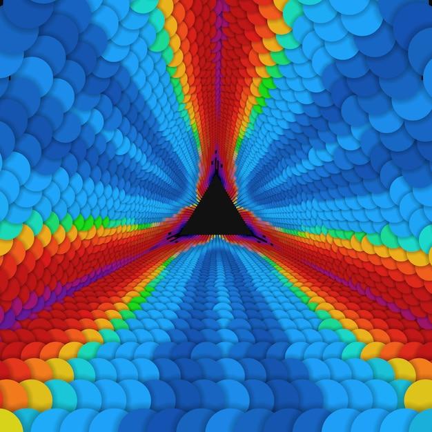 Tunnel triangolare infinito di vettore di cerchi colorati su sfondo scuro. sfere formano settori di tunnel. Vettore gratuito