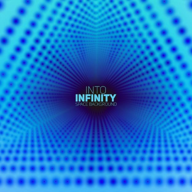 背景に輝くフレアのベクトル無限三角トンネル。光る点がトンネルセクターを形成します。 無料ベクター