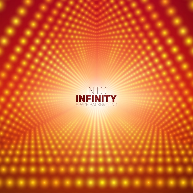 Vector infinite triangular tunnel of shining flares on red background. Free Vector
