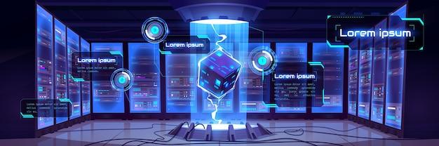 서버 하드웨어 및 프로세서 홀로그램이있는 미래의 데이터 센터 룸의 만화 내부와 벡터 인포 그래픽 배경. 빅 데이터 기술 개념, 클라우드 정보 기반 무료 벡터