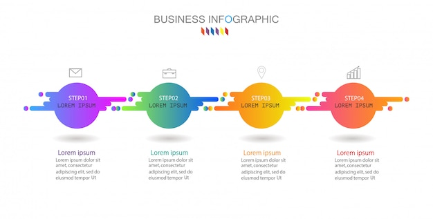 Vector infographic chart, business concept with 4 options. Premium Vector