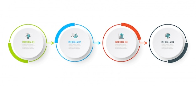 Vector infographic chart design with 4 option, step or peocess. business concept with marketing icons. Premium Vector