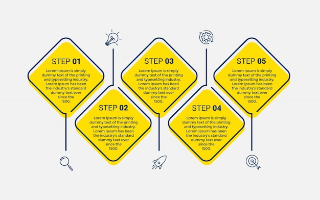 Vector infographic design template with 5 options or steps. Premium Vector