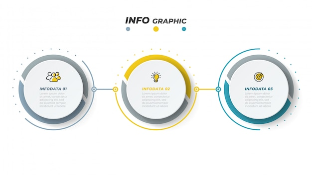 Vector infographic design template with marketing icons. business concept with 3 options or steps Premium Vector