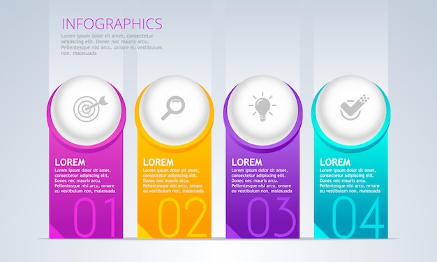 Vector infographic element. timeline with 4 steps. Premium Vector