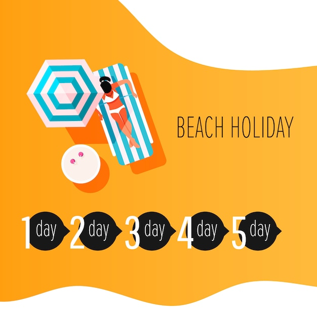 Vector infographic elements of time to sunbathe. sunburn treatment infographic. girl with sunburn skin. Premium Vector