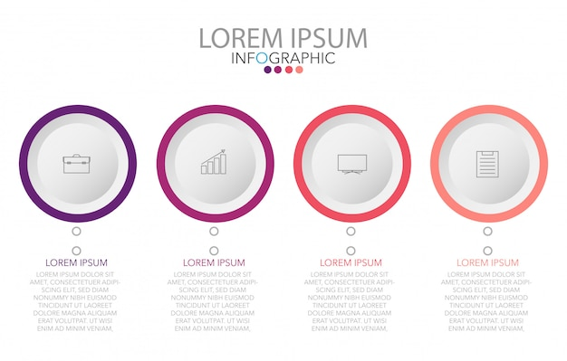 Vector infographic label design template with icons and 4 options or steps Premium Vector