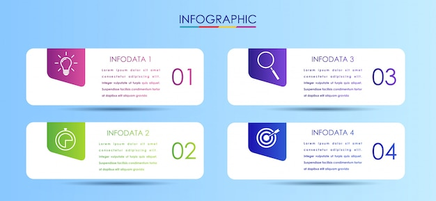 Vector infographic label design template with icons Premium Vector
