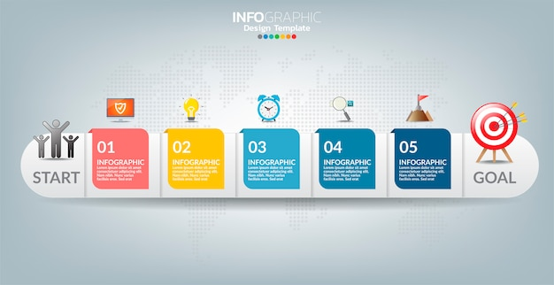 Vector infographic label template with icons and 5 options or steps. Premium Vector