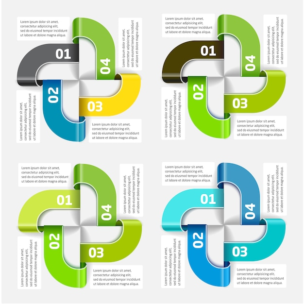 Vector infographic template of the four segments and colors Premium Vector