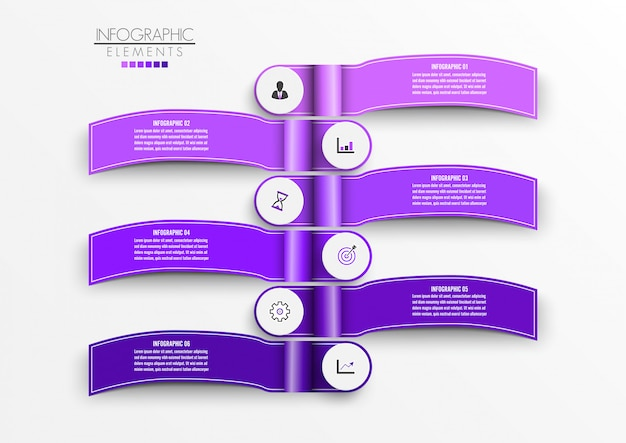 Vector infographic template with 3d paper label, integrated circles. business concept with 6 options. Premium Vector