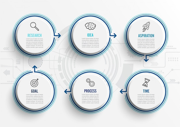 Vector infographic template with icons and 6 options or steps. Premium Vector