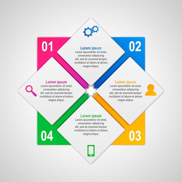 Vector infographics template with four options in material design style. Premium Vector