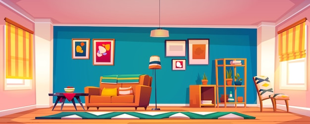 Vector interior of living room in boho style Free Vector