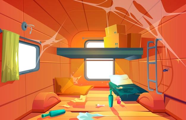 Vector interior of poor dirty room in camping van Free Vector