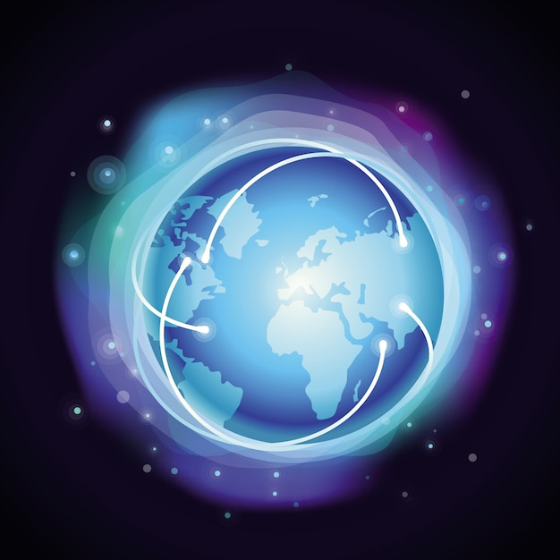 Vector internet concept - glowing globe - abstract background in blue color Premium Vector