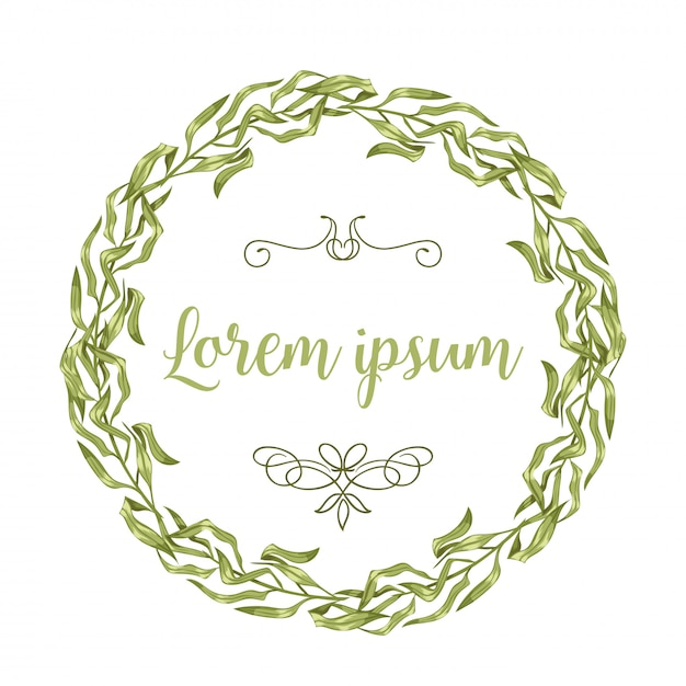 Vector invitation cards with herbal twigs and branches wreath and corners border frames. Premium Vector