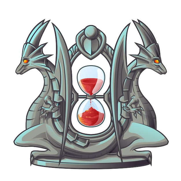 Vector isolated dragon of sand timer. Premium Vector