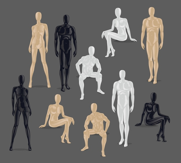 Vector isolated mannequins. different poses and colurs male and female mannequin icons. Premium Vector