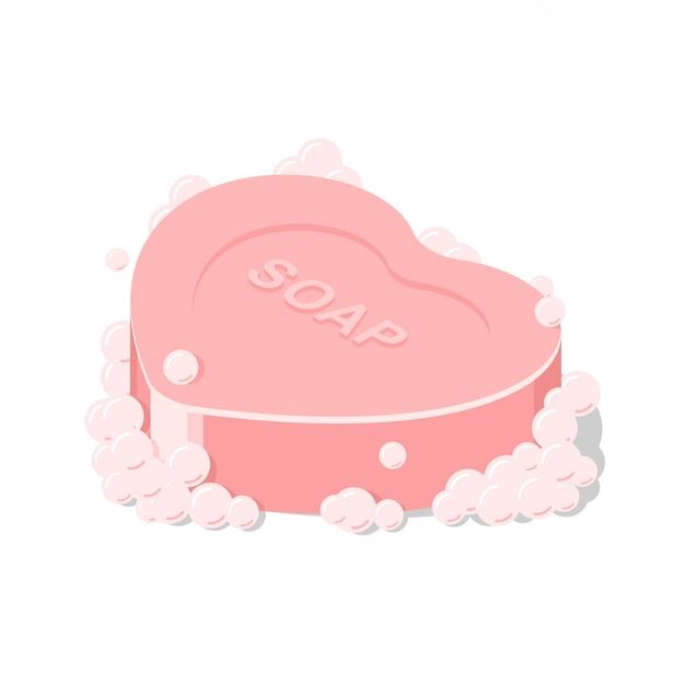 Vector isolated pink soap heart shape Premium Vector