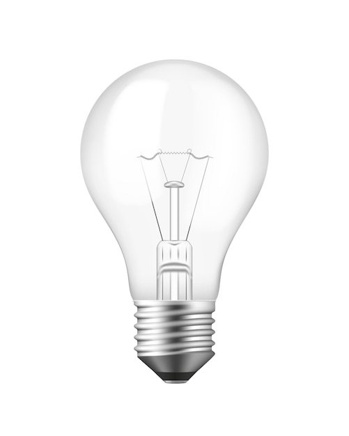 Vector isolated realistic light bulb over white Free Vector