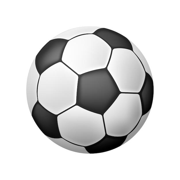 흰색 위에 벡터 격리 된 현실적인 축구 공 무료 벡터
