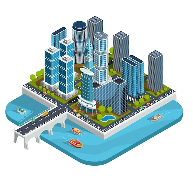 Vector isometric 3d illustrations of modern urban quarter with skyscrapers, offices, residential buildings, transport Free Vector