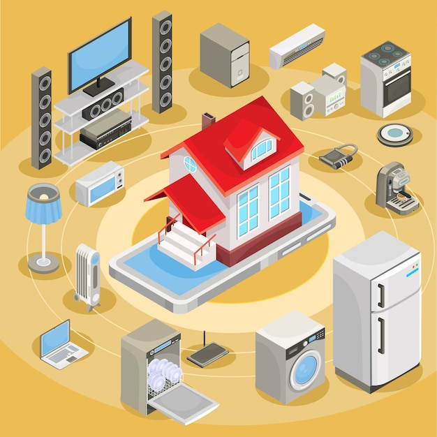 Vector isometric abstract illustration smart home, controlling through internet home work equipment. Free Vector