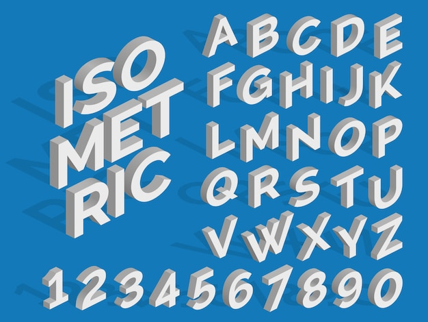 Vector isometric alphabet and numbers. funky 3d font Premium Vector