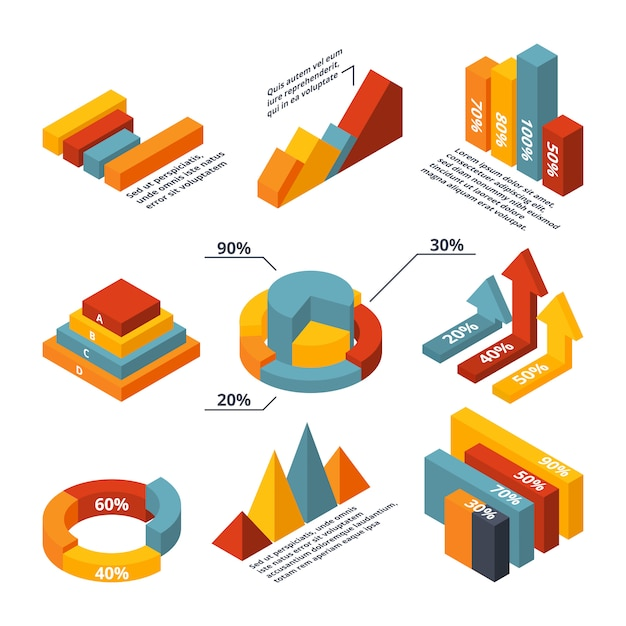 Vector isometric diagrams for business infographic Premium Vector