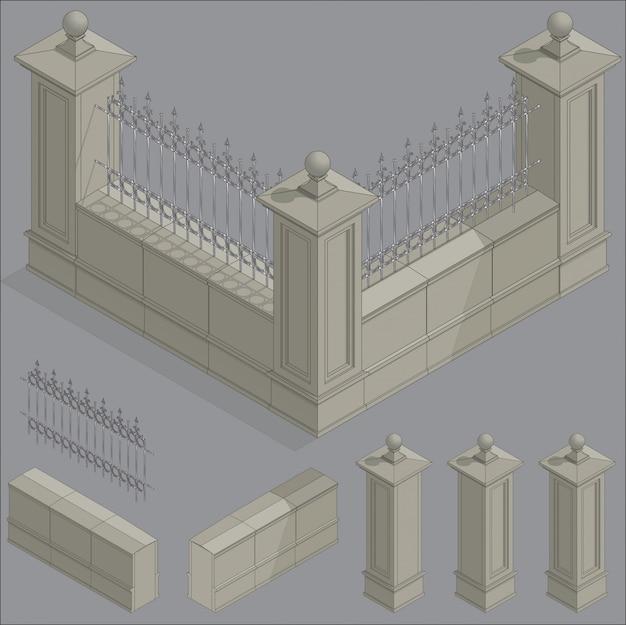 Vector isometric fence set, construction kit Premium Vector