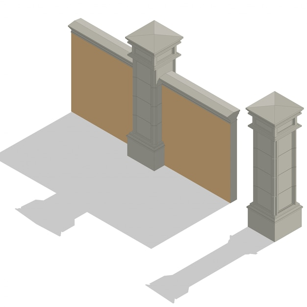 Vector isometric fence set, construction kit Premium Vector