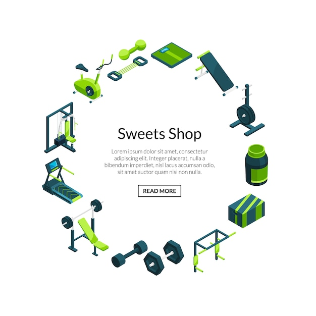Vector isometric gym. sport and fitness items on rounded frame with text template Premium Vector