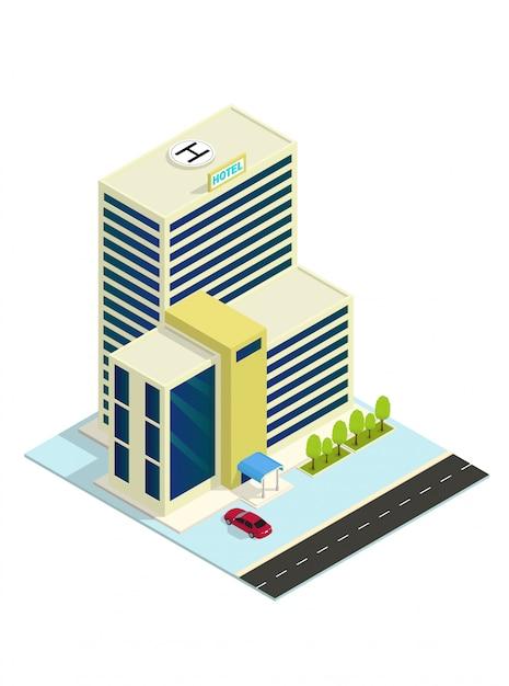 Vector isometric hotel, apartment,or skyscraper building Premium Vector