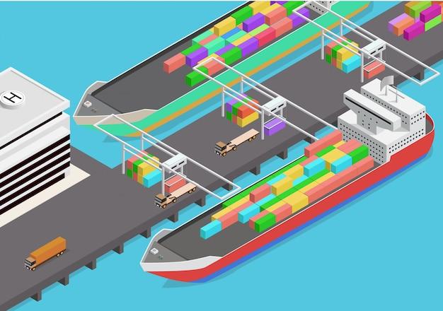 Vector isometric icon representing cargo port Premium Vector