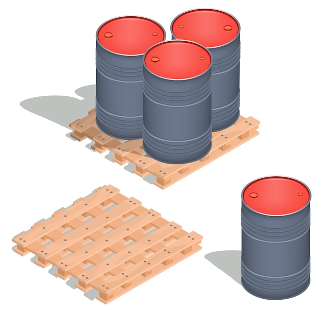 Vector isometric icons of barrels of oil on a wooden pallet