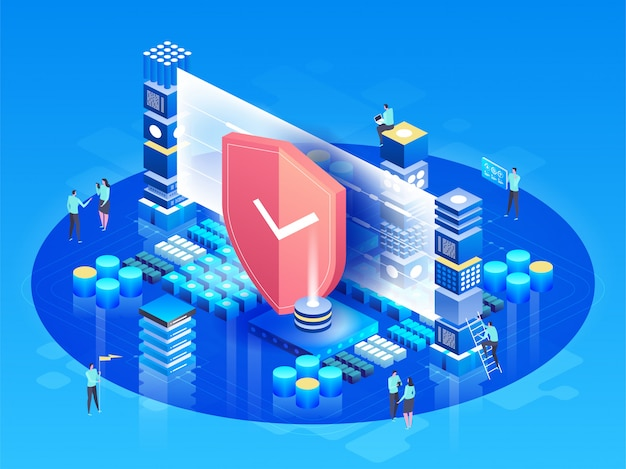 Vector isometric illustration modern technologies, security and data protection, payment security Premium Vector