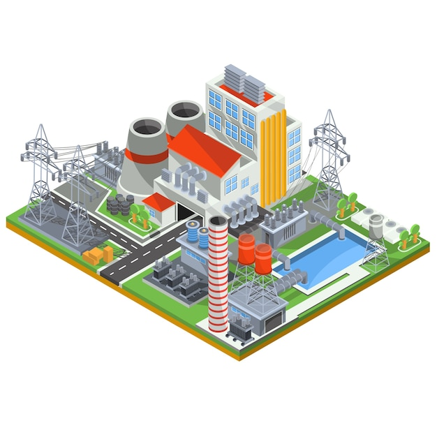 Vector isometric illustration of a nuclear power plant for the production of electrical energy Free Vector