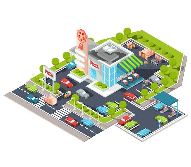 Vector isometric illustration of a modern Italian fast food restaurant with parking and gas station. Free Vector