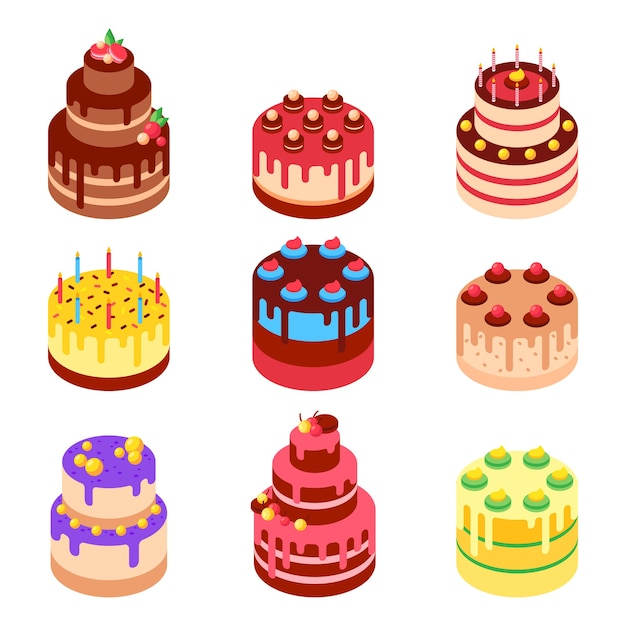 Vector isometric illustration of sweet baked cakes. Premium Vector