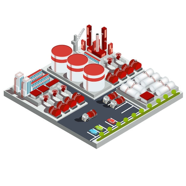 Vector isometric illustrations oil refinery Free Vector