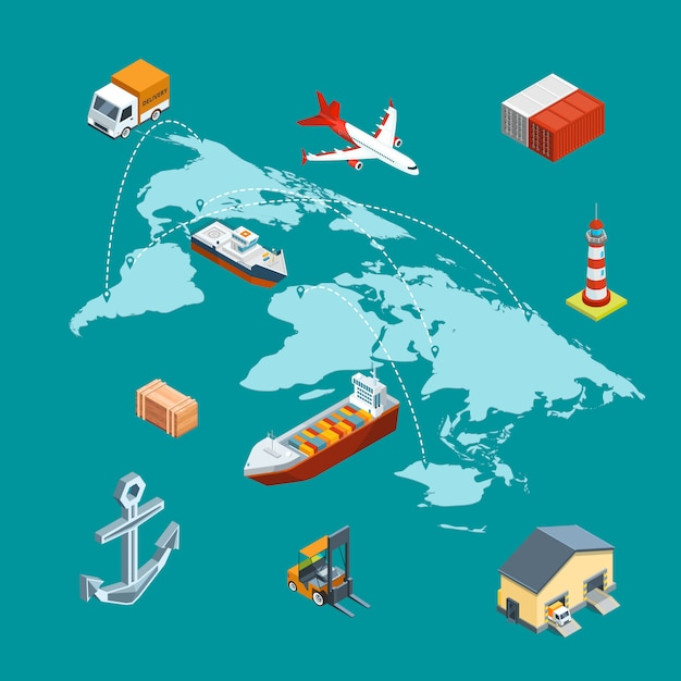 Vector isometric marine logistics and worldwide shipping on world map with pins concept illustration Premium Vector