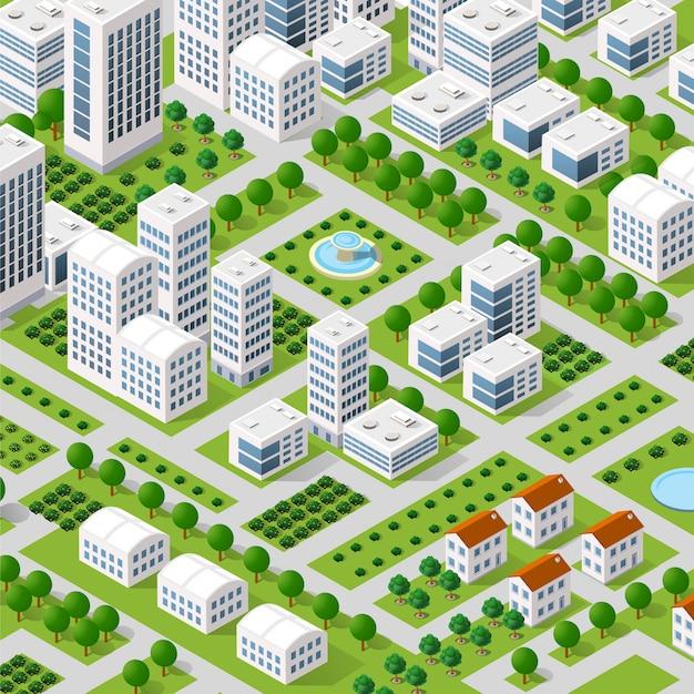 Vector isometric urban architecture Premium Vector
