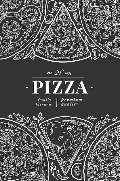 Vector italian pizza poster or menu cover template. hand drawn vintage illustration on chalk board. italian food design. Premium Vector