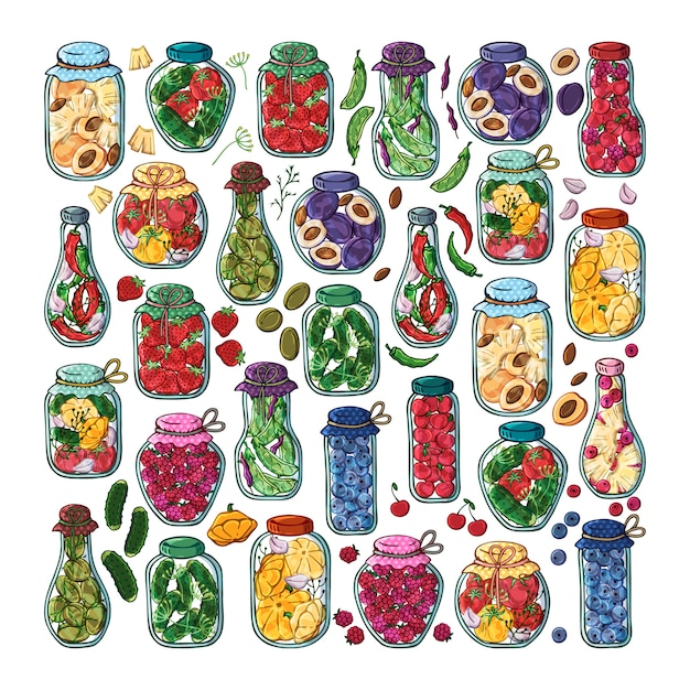 Vector jars of canned vegetables and fruits. Premium Vector